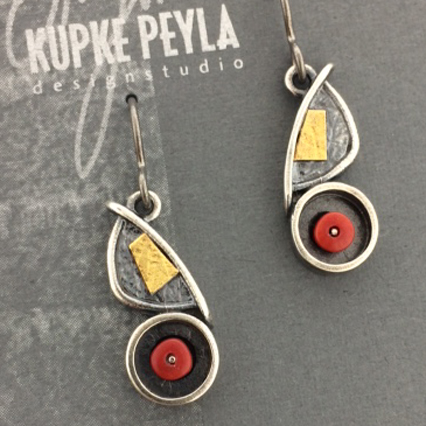 Dangle Earring in Sterling Silver with Coral