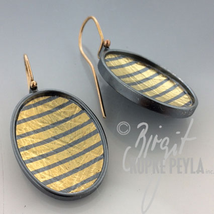 Oval Striped Earrings