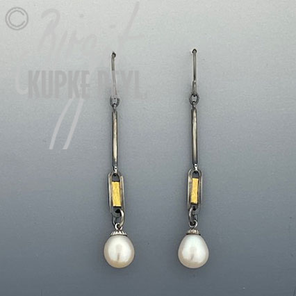 Long slender Pearl Dangle Earrings