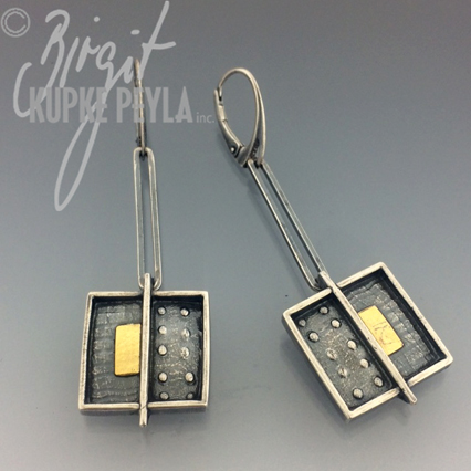 Two tone-Silver-gold-dangle Earring