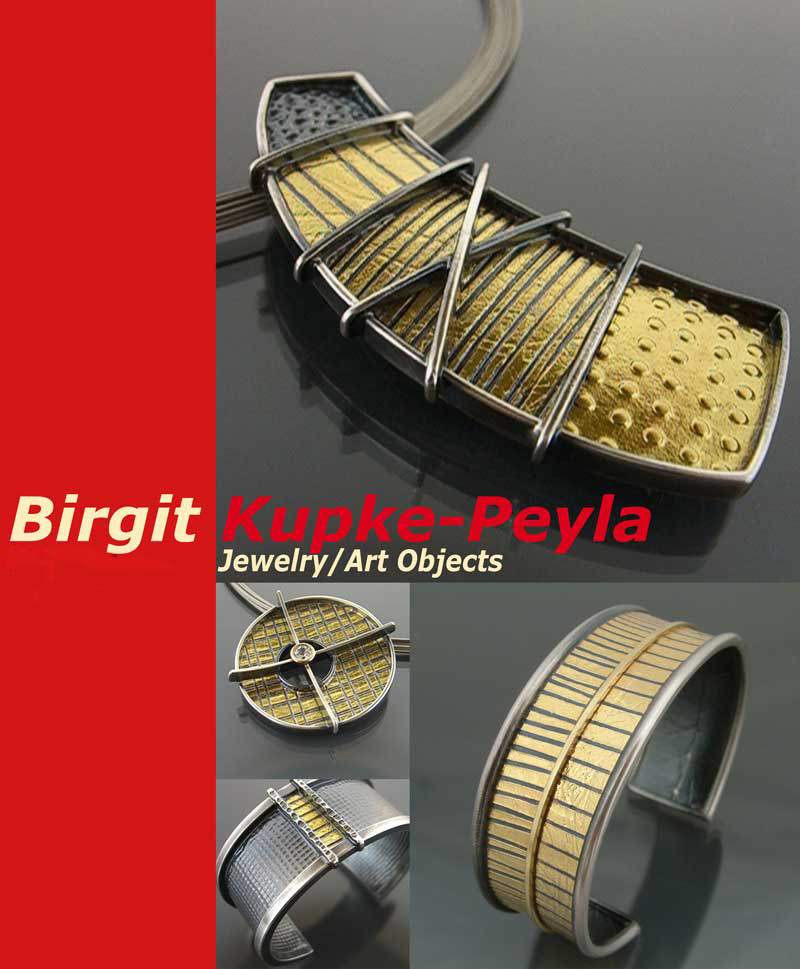 collage showing jewelry designed and made by Birgit Kupke-Peyla