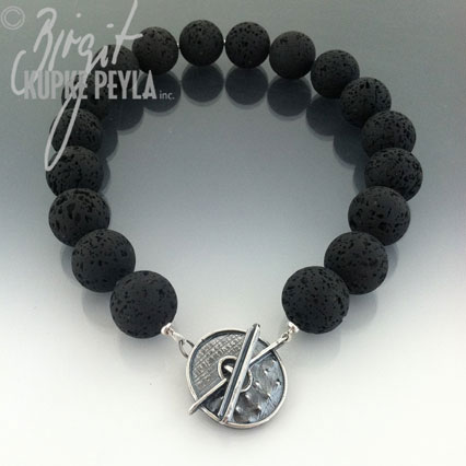 Lava Stone with Sterling Silver Toggle Clap