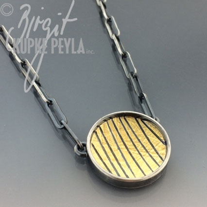 Round Striped Pendant on Chain