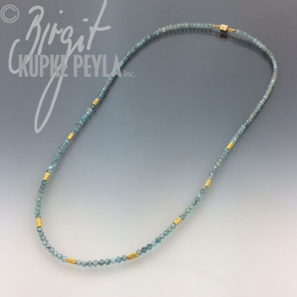 Zircon Bead Necklace with gold spacers