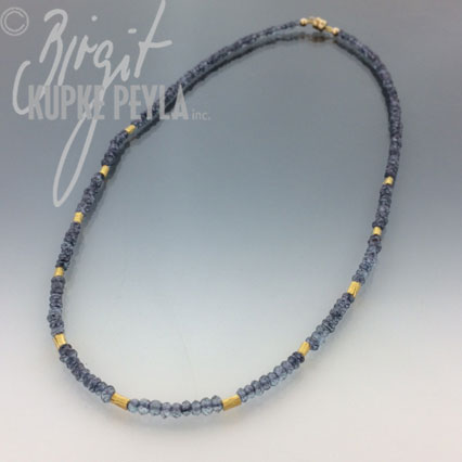 Iolite and Gold bead necklace with magnetic clasp