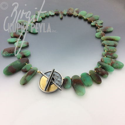 Toggle clasp with Australian Chrysoprase beads