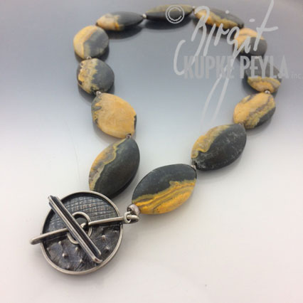 Bumple Bee Jasper with Sterling Silver Toggle Clap