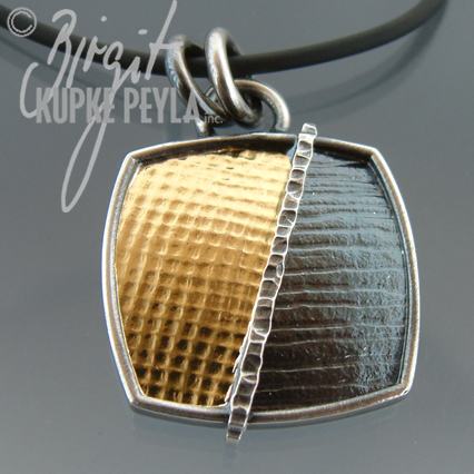 Cushion Shaped Gold and Silver Pendant